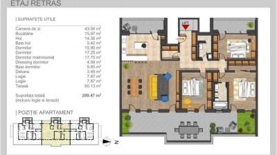 Vanzare Penthouse 4 camere 159.47 mp Terasa 50 mp Parcare zona Grand Hotel Italia!