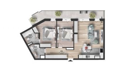 Vanzare Apartament 3 camere, 75 mp, Terasa 19 mp, zona Kaufland Marasti