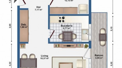 Vanzare Apartament 2 camera, 51 mp, Decomandat, Parcare, zona Str. Eugen Ionesco