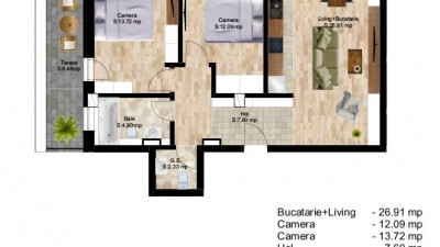 Vanzare Apartament 3 camere, 67.50 mp, Terasa 8.50 mp, zona Piata Cipariu