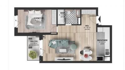 Vanzare Apartament 2 camere, 59.5 mp, Etaj Intermediar, zona Kaufland Marasti