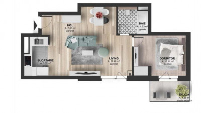 Vanzare Apartament 2 camere, 52 mp, Etaj Intermediar, zona Kaufland Marasti