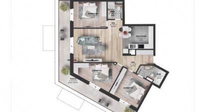 Vanzare Apartament 4 camere, 89.96 mp, Terasa 27.26 mp, zona Kaufland Marasti