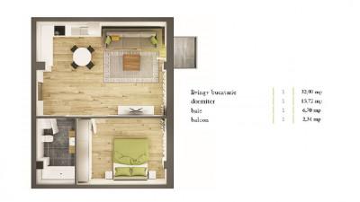 Apartament 2 camere, 55,32 mp, semifinisat, zona Parcul Central