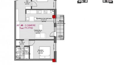 Vanzare Apartament 3 Camere, 75 mp , Zona Str. Eroilor!