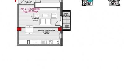 Vanzare Apartament 2 Camere, 56 mp, Zona Str. Eroilor Floresti!