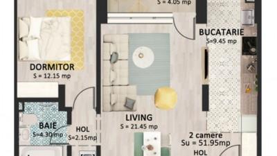 Vanzare Apartament 2 Camere, 52,8 mp, Zona Str. Bucuresti!
