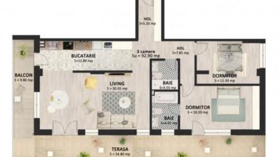 Vanzare Apartament 3 Camere, 92 mp, Zona Str. Bucuresti!