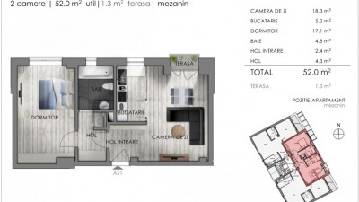 Vanzare Apartament 2 Camere, 52 mp, Zona The Office!