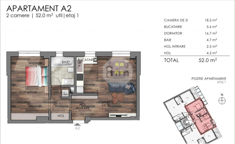 Apartament 2 Camere, 52 mp, Zona The Office!