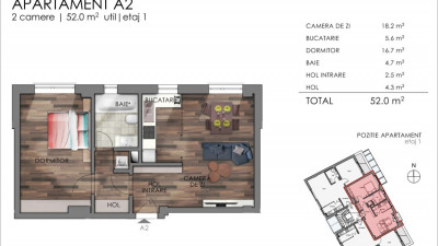 Apartament 2 Camere, 52 mp, Zona The Office!