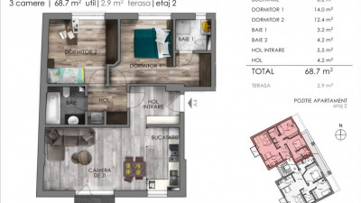 Apartament 3 Camere, Decomandat, 68,7 mp, Zona The Office!