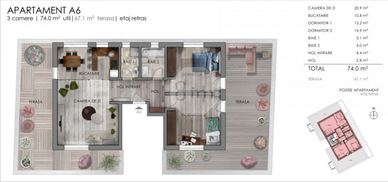 Penthouse 3 Camere, Decomandat, 74 mp, Terasa 67 mp, Zona The Office!