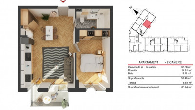 Apartament 2 Camere, 53,40 mp, Zona Str. Fabricii!