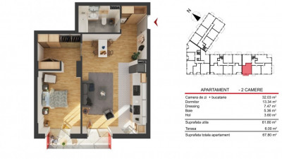 Apartament 2 Camere, 61,80 mp, Zona Str. Fabricii!