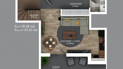 Penthouse pe doua niveluri   3 Camere   91 mp   12 mp terasa   Zona Calea Turzii