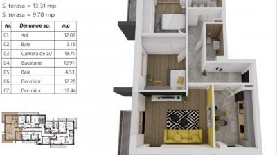Vanzare Apartament 3 Camere, Decomandat. 74 mp, Zona LIDL !