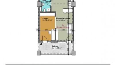 Vanzare Apartament Semidecomandat, 2 Camere, 43 mp, Zona Iulius Mall !