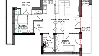 Vanzare Apartament Semidecomandat, 2 Camere, 61,73 mp, Zona Oasului!