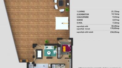 Vanzare Apartament | 2 Camere | 55 mp utili | 179 mp terasa | Zona AUDI