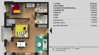 Vanzare Apartament | 3 Camere | 72 mp utili | Zona AUDI