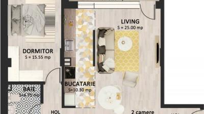 Vanzare Apartament Semidecomandat, 2 Camere, 62 mp, Zona Strazii Bucuresti !