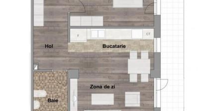 Vanzare Apartament 2 camere, 53 mp, Terasa 31 mp, zona Kaufland